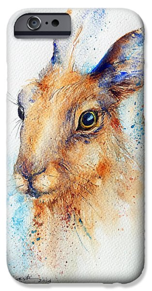 Brown Hare iPhone Cases - The Brown Hare Portrait iPhone Case by Arti Chauhan