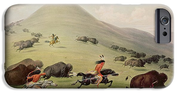 The Horse Paintings iPhone Cases - The Buffalo Hunt iPhone Case by George Catlin