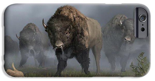 Bison Art iPhone Cases - The Buffalo Vanguard iPhone Case by Daniel Eskridge