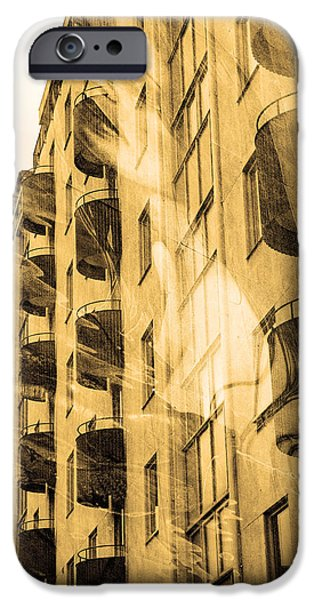 City Scape Mixed Media iPhone Cases - The building and the mystery woman iPhone Case by Toppart Sweden