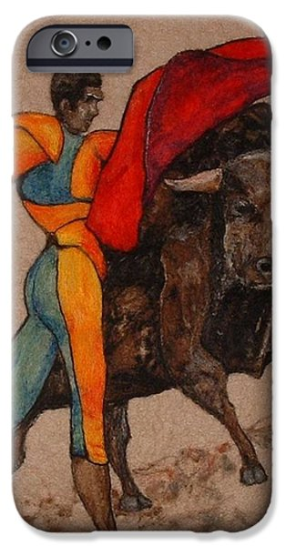 Needle Tapestries - Textiles iPhone Cases - The Bullfighter iPhone Case by Bonnie Nash
