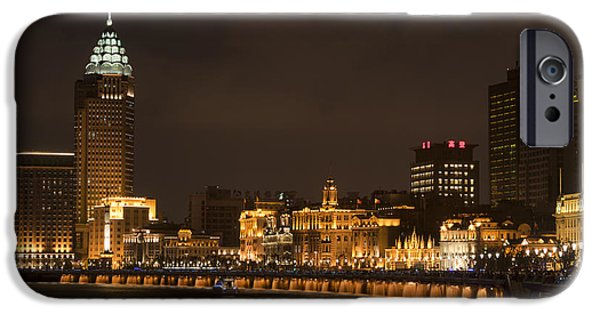 Night Lamp iPhone Cases - The Bund, Shanghai iPhone Case by John Shaw