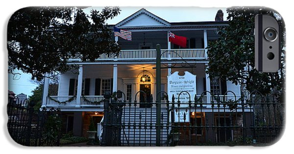 Confederate Hospital iPhone Cases - The Burgwin Wright House At Night iPhone Case by Bob Sample