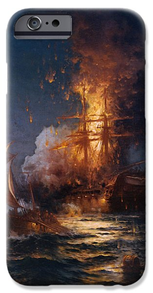 Tall Ship Digital Art iPhone Cases - The Burning of the Philadelphia iPhone Case by Edward Moran