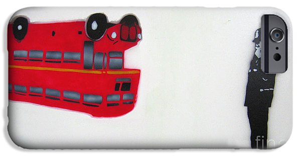 Police Officer Paintings iPhone Cases - The Bus iPhone Case by Bela Manson