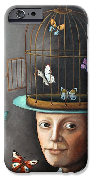 Cage Paintings iPhone Cases - The Butterfly Keeper 1 iPhone Case by Leah Saulnier The Painting Maniac