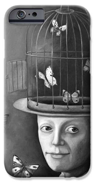 Cage Paintings iPhone Cases - The Butterfly Keeper BW iPhone Case by Leah Saulnier The Painting Maniac