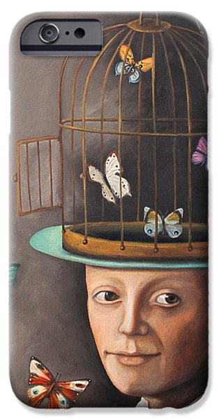 Cage Paintings iPhone Cases - The Butterfly Keeper edit 2 iPhone Case by Leah Saulnier The Painting Maniac