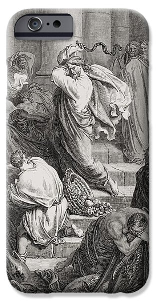 Punishment iPhone Cases - The Buyers and Sellers Driven Out of the Temple iPhone Case by Gustave Dore