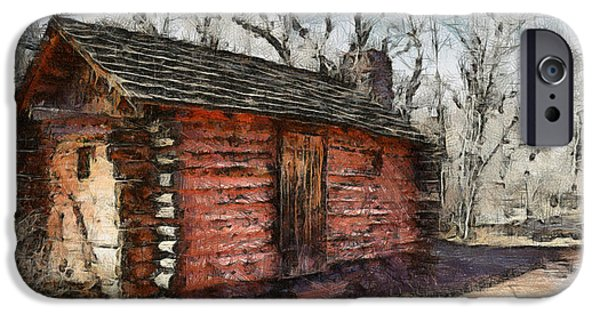 Log Cabin Digital iPhone Cases - The Cabin iPhone Case by Ernie Echols