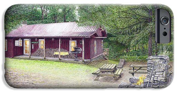 Forest Drawings iPhone Cases - The Cabin in the Woods iPhone Case by Albert Puskaric