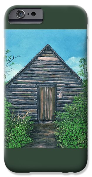 Mountain Cabin iPhone Cases - The Cabin that Hans Built iPhone Case by Reb Frost