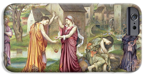 Pre-raphaelites iPhone Cases - The Cadence of Autumn iPhone Case by Evelyn De Morgan