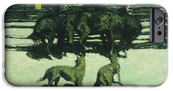Frederic Remington iPhone Cases - The Call for Help iPhone Case by Frederic Remington