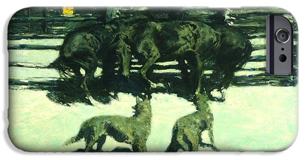 Log Cabin Digital iPhone Cases - The Call For Help iPhone Case by Fredrick Remington