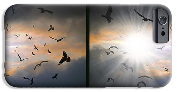 Strange iPhone Cases - The Call - The Caw - Gently cross your eyes and focus on the middle image iPhone Case by Brian Wallace