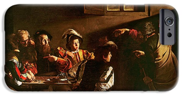 Gospel iPhone Cases - The Calling of St Matthew iPhone Case by Michelangelo Merisi o Amerighi da Caravaggio