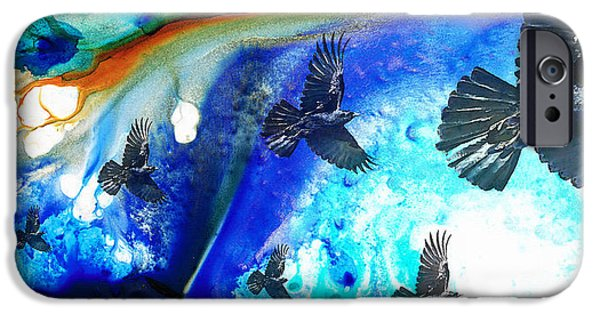 Raven iPhone Cases - The Calling - Raven Crow Art by Sharon Cummings iPhone Case by Sharon Cummings