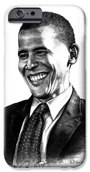 President Obama Drawings iPhone Cases - The Candidate iPhone Case by Todd Spaur