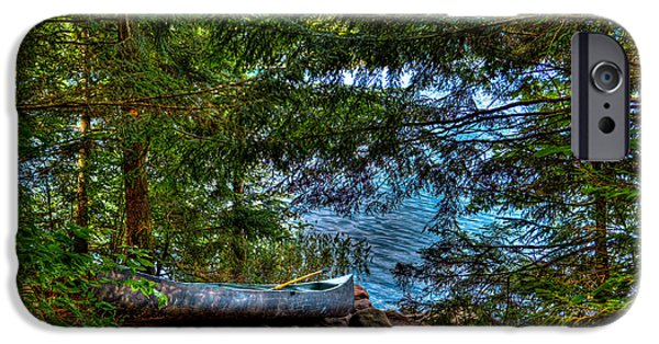 Canoe iPhone Cases - The Canoe on Bubb Lake iPhone Case by David Patterson