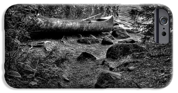 Canoe iPhone Cases - The Canoe on Bubb Lake II iPhone Case by David Patterson