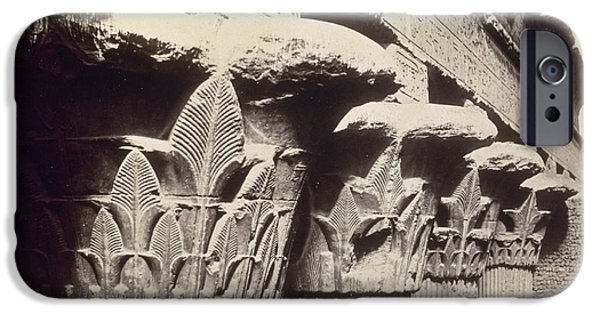 Columns iPhone Cases - The Capitals of the Portico of the Temple of Khnum in Esna iPhone Case by Francis Bedford