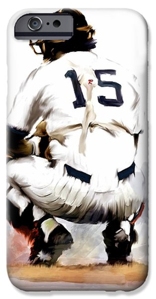Baseball Drawings iPhone Cases - The Captain IV Thurman Munson iPhone Case by Iconic Images Art Gallery David Pucciarelli