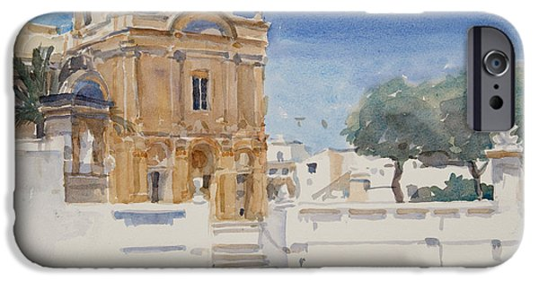 Maltese iPhone Cases - The Capuccini Church, 2012 Wc On Paper iPhone Case by Lucy Willis