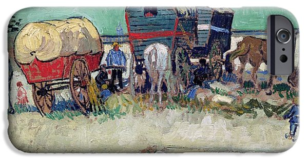 Buggy iPhone Cases - The Caravans   Gypsy Encampment near Arles iPhone Case by Vincent Van Gogh