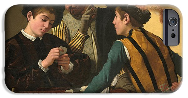 Caravaggio Paintings iPhone Cases - The Cardsharps iPhone Case by Caravaggio