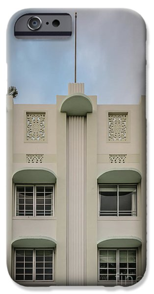 Scarface iPhone Cases - The Carlyle Art Deco Detail South Beach Miami - HDR Style iPhone Case by Ian Monk