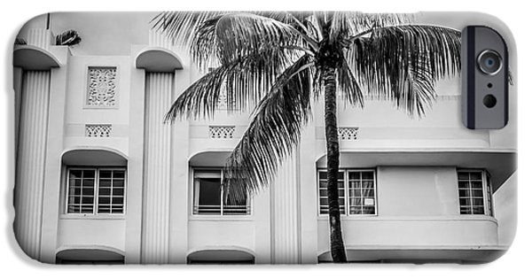 Scarface iPhone Cases - The Carlyle South Beach Miami - Art Deco District - Black and White iPhone Case by Ian Monk