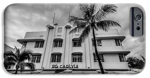 Scarface iPhone Cases - The Carlyle South Beach Miami Panoramic - Art Deco District - Black and White iPhone Case by Ian Monk