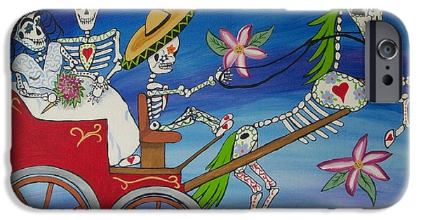 Diego Rivera iPhone Cases - The Carriage Ride Day of the Dead iPhone Case by Julie Ellison