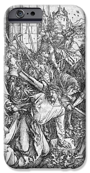 Christ Drawings iPhone Cases - The carrying of the cross iPhone Case by Albrecht Durer or Duerer