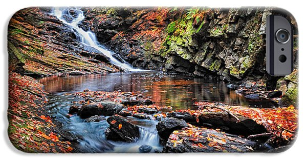 New Hampshire Fall Scenes iPhone Cases - The Cascades of Chesterfield Gorge iPhone Case by Thomas Schoeller