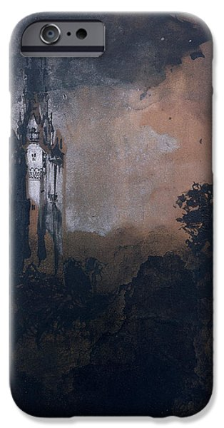 Abstract Expressionist Drawings iPhone Cases - The Castle in the Moonlight  iPhone Case by Victor Hugo