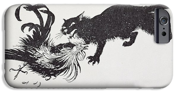 Fable iPhone Cases - The Cat And The Cock iPhone Case by Arthur Rackham