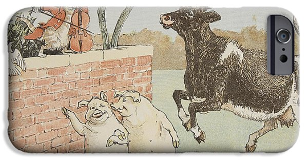 Nursery Rhyme iPhone Cases - The Cat and the Fiddle iPhone Case by Randolph Caldecott