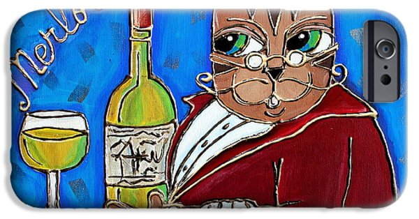 Table Wine Mixed Media iPhone Cases - The Cat Butler iPhone Case by Cynthia Snyder