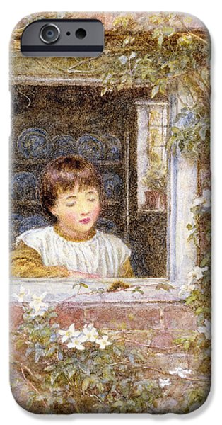 Caterpillar iPhone Cases - The Caterpillar Wc On Paper iPhone Case by Helen Allingham