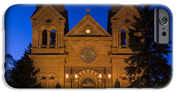 Santa iPhone Cases - The Cathedral Basilica Of Saint Francis Of Assisi - Santa Fe New Mexico iPhone Case by Brian Harig