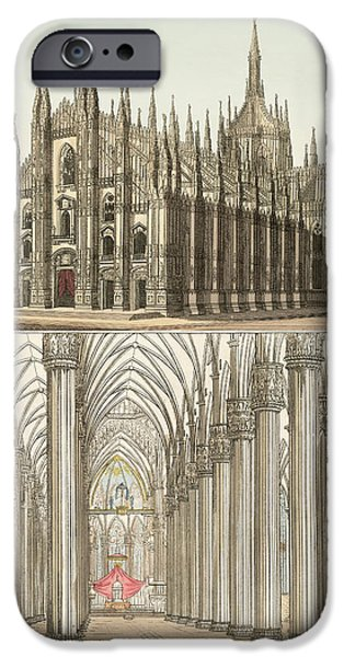 Architektur Drawings iPhone Cases - The Cathedral of Milan iPhone Case by Splendid Art Prints