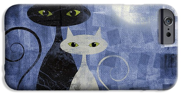Grungy Pyrography iPhone Cases - The Cats iPhone Case by Jelena Jovanovic