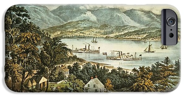 Horse And Cart iPhone Cases - The Catskill Mountains From The Eastern Shore Of The Hudson Colour Litho iPhone Case by N. Currier