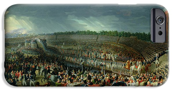 Crowd iPhone Cases - The Celebration Of The Federation, Champs De Mars, Paris, 14 July 1790 Oil On Canvas iPhone Case by Charles Thevenin