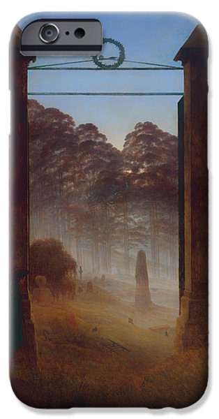 Night Angel Paintings iPhone Cases - The Cemetery iPhone Case by Caspar David Friedrich