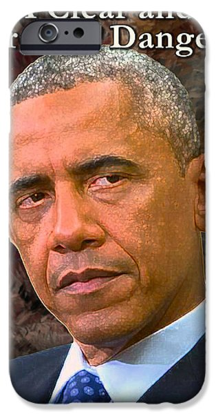 Obama Mixed Media iPhone Cases - The Central Threat to Liberty iPhone Case by Will Barger