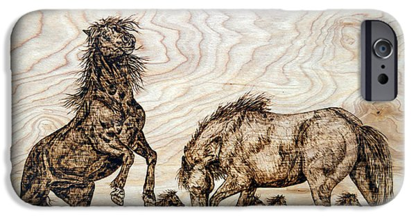 Horse Pyrography iPhone Cases - The Challenge iPhone Case by Melissa Fuller