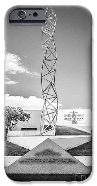 The Challenger Memorial 2 - Bayfront Park - Miami - Black and White iPhone Case by Ian Monk